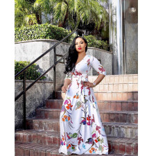 Plus Size Floral Print V Neck Long Maxi Dress NK-8193
