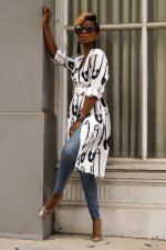 Casual Printed V Neck Sashes Long Blouse ML-7182