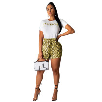Fashion Casual Snakeskin Letter Top + Shorts Set ML-7229