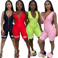 Casual Sports Sleeveless Zipper Playsuits LUO-3053