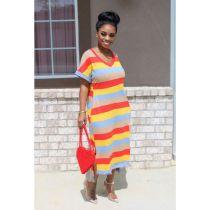 Rainbow Stripe V Neck Casual Loose T Shirt Dress SFY-111