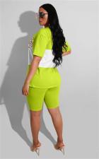 Contrast Color Splice Short Sleeve 2 Piece Shorts Set MOY-5169