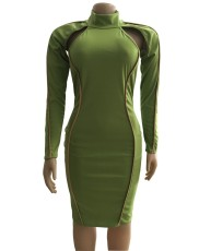 Sexy Long Sleeve Hollow Bodycon Dress WUM-815