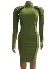Sexy Long Sleeve Hollow Bodycon Dress WUM-815