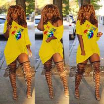 Plus Size Lips Print Oblique Collar T Shirt Dress FNN-8283
