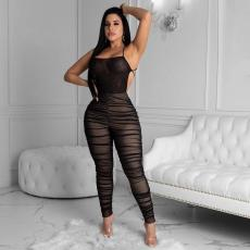 Sexy Mesh See Through Backless Ruched Jumpsuit FNN-8358