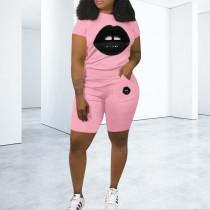 Lips Print T Shirt And Shorts 2 Piece Sets PN-6329