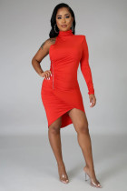 Sexy One Shoulder Open Back Bodycon Dress WSM-5130