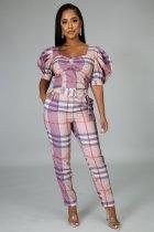 Plaid Print Short Sleeve Jumpsuit With Belt MIL-085