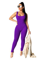 Solid Sleeveless Bodycon Jumpsuits TR-1007