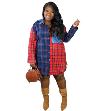 Plus Size Casual Plaid Patchwork Long Sleeve Blouse Shirt SFY-062