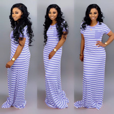 Casual Stripe Short Sleeve Long Dress SFY-012