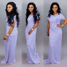 Casual Stripe Short Sleeve Long Dress SFY-012