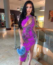 Sexy Printed Cut Out Irregular Club Dress BGN-045