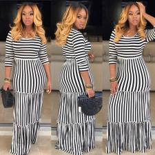 Plus Size Casual Striped High Waist Maxi Dress SFY-025
