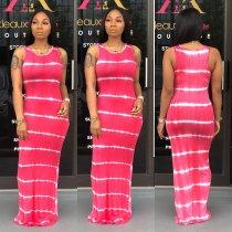 Casual Tie Dye Print Sleeveless Long Dress SFY-023