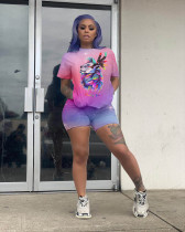 Plus Size Casual Printed Tees And Shorts 2 Piece Sets YH-5073-1