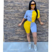 Contrast Color Short Sleeve Two Piece Sets WSM-5140
