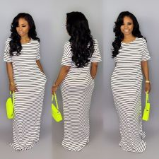 Casual Striped Short Sleeve Maxi Dress SFY-042
