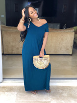 Solid Short Sleeve Casual Long Dress SFY-003