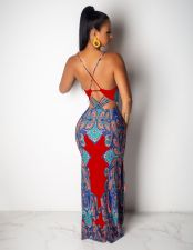 Sexy Printed Backless Spaghetti Strap Maxi Dress SFY-048