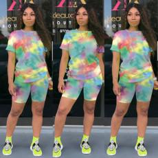 Plus Size Tie Dye Print Two Piece Shorts Set TE-3982