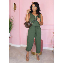 Plus Size Solid Casual Loose Sleeveless Jumpsuits MTY-6295