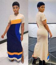 Casual Splice Short Sleeve Long Maxi Dress MN-9234
