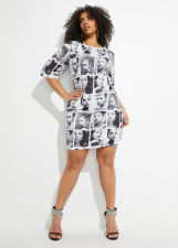 Casual Printed Short Sleeve Mini Dress LD-98232