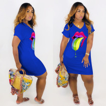 Plus Size Tongue Print V Neck Short Sleeve T Shirt Dress MTY-6193