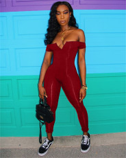 Plus Size V-neck Tube Top Jumpsuit CHY-1049