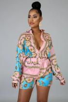 Sexy Printed Blouse Top And Shorts 2 Piece Sets CY-2129