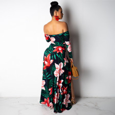 Floral Print Off Shoulder High Split Maxi Dress SH-3518