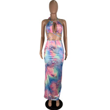 Tie-dye Print Tube Top Maxi Dress CHY-1160