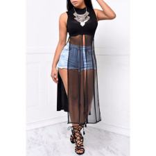 Sexy Mesh Patchwork High Split Long Dress SH-045