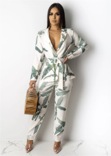 Leaf Print Casual Two Piece Suit YIY-5080