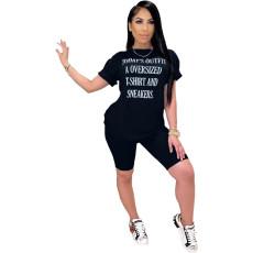 Letter Print T Shirt Shorts Casual 2 Piece Sets FNN-8360