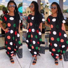 Polka Dot Stripe Loose Big Swing Maxi Dress MK-3001