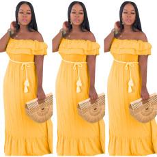 Sexy Solid Color Ruffled Maxi Dress SHD-9136