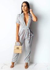 Casual Striped Short Sleeve Jumpsuit SHD-9151