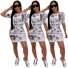 Newspaper Print Short Sleeves Mini Dress SHD-9153