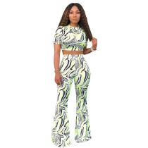 Zebra Stripe Prrint Short Sleeve Flare Pants Suits SHD-9131