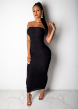 Sexy Ruched Srapless Bodycon Maxi Tube Dress SHD-9107