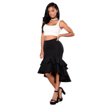 Sexy Ruffles High Low Hem Mermaid Midi Skirt YF-9086