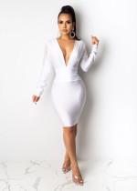 Elegant Deep V-neck Tassel Long Sleeve Dress SHD-9196
