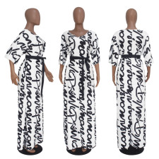 Letter Print Half Sleeve V Neck Sashes Maxi Dress SHD-9070