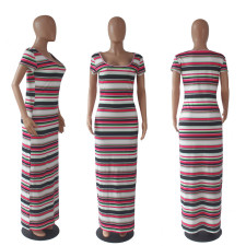 Colorful Stripe Short Sleeve Long Maxi Dress SHD-9040