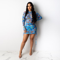 Butterfly Print Mesh Perspective Ruched Club Dress YF-9606