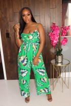 Floral Print Backless Wide Leg Strap Jumpsuits MOS-1031