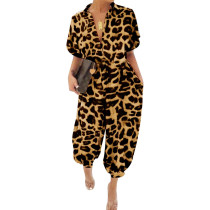 Leopard Turndown Collar Short Sleeve Jumpsuits NY-8893